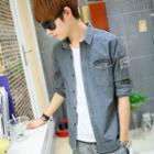 Long-sleeve Applique Denim Shirt