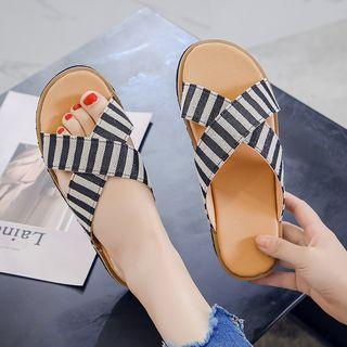 Striped Cross Strap Slide Sandals