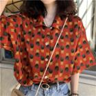 Pineapple Print Chiffon Blouse As Shown In Figure - One Size