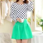 Set: Polka Dot Long-sleeve Top + Pleated Skirt