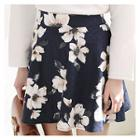 Floral Pattern Mini A-line Skirt