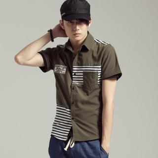 Short-sleeve Striped Panel Shirt
