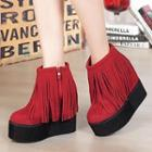 Fringed Wedge Ankle Boots