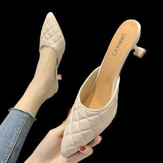 Pointed Quilted Flared Heel Mules