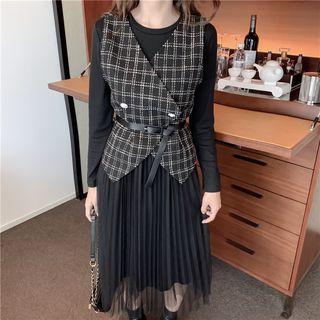 Plain Long-sleeve Mesh Dress / Check Vest + Belt