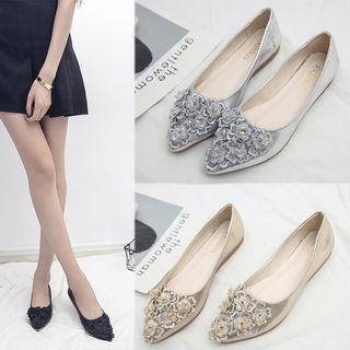 Pointy-toe Applique Flats
