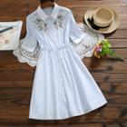 Short-sleeve Midi Embroidered Shirtdress
