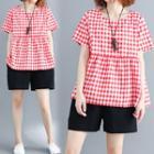 Plaid Short-sleeve A-line Top