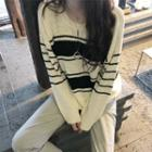 Crewneck Striped Knitted Cotton Top