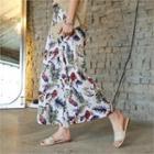 Floral Print Linen Blend Pants