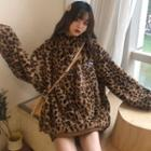 Leopard Print Embroidered Hoodie