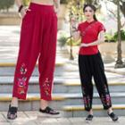 Floral Embroidered Baggy Pants