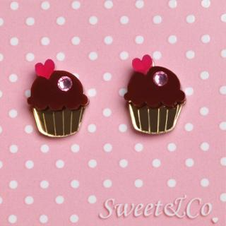 Sweet&co. Mini Cupcake Stud Earrings Gold - One Size