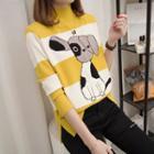 Dog Print Mock-neck Sweater
