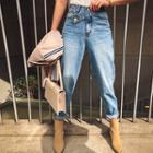 Button-tab Distressed Baggy Jeans