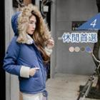 Fluffy Fur Hooded Fleece Padded Coat