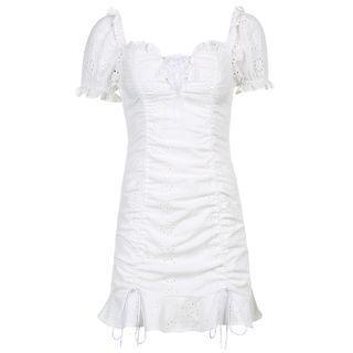 Puff-sleeve Eyelet Lace Drawstring Mini Sheath Dress