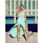 Halter Backless Slit Maxi Dress
