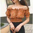 Off Shoulder Chiffon Short-sleeve Top