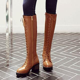 Block Heel Lace-up Tall Boots