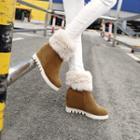 Hidden-wedge Fleece-lining Ankle Boots