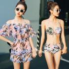 Set: Floral Print Bikini + Off-shoulder Playsuit