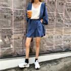 Set: Hooded Buttoned Jacket + High Waist Shorts Blue - One Size