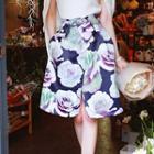 Tie-waist Floral A-line Skirt