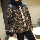 Camouflage Hooded Lettering Jacket