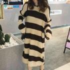 Color Block Knit Hoodie Dress