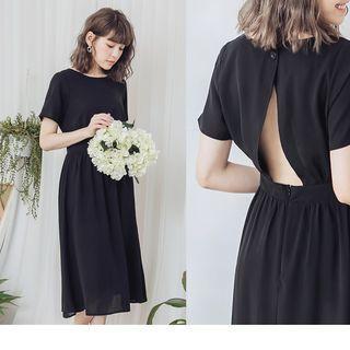 Open Back Plain A-line Dress