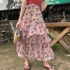 Floral Midi Layered A-line Skirt As Shown In Figure - One Size