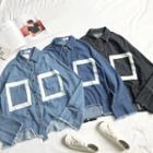 Fringed Loose-fit Long-sleeve Denim Shirt
