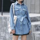 Tie Waist Denim Shirt Blue - One Size