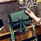 Faux-leather Tasseled Mini Cross Bag
