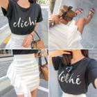 Frilled Shirred Mini Pencil Skirt