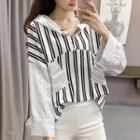 Hooded Long-sleeve Striped Panel Top