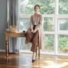 Notched-collar Long Wrap Coat With Sash
