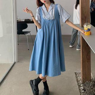 Short-sleeve Plaid Shirt / Midi Overall Dress
