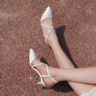 Cross Strap Slingback Pointed Pumps