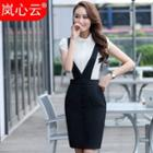 Set: Plain Short Sleeve Shirt + Suspender Pencil Skirt