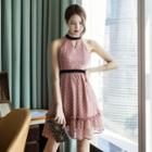 Sleeveless Patterned Ruffle Chiffon Dress