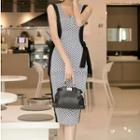 Sleeveless Pattern Sheath Dress