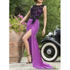 Lace Panel Sleeveless Evening Dress
