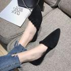 Pointed Ruffle Trim Flats