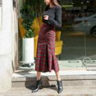 Plaid Wool Blend Long Mermaid Skirt