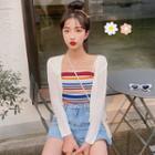 Plain Cardigan / Striped Knit Camisole