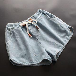 Drawstring Denim Hot Pants Light Blue - One Size