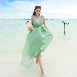Plain V-neck Maxi Dress