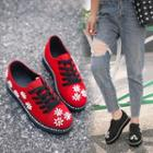 Beaded Floral Lace-up Sneakers